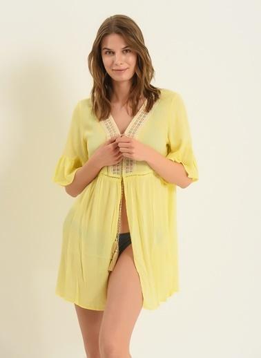 Morhipo Beach Kadın Kendinden Sim Detaylı Kimono MBKSS21KI0008 Sarı